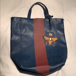 Handbags - Leather blue tote with red stripe